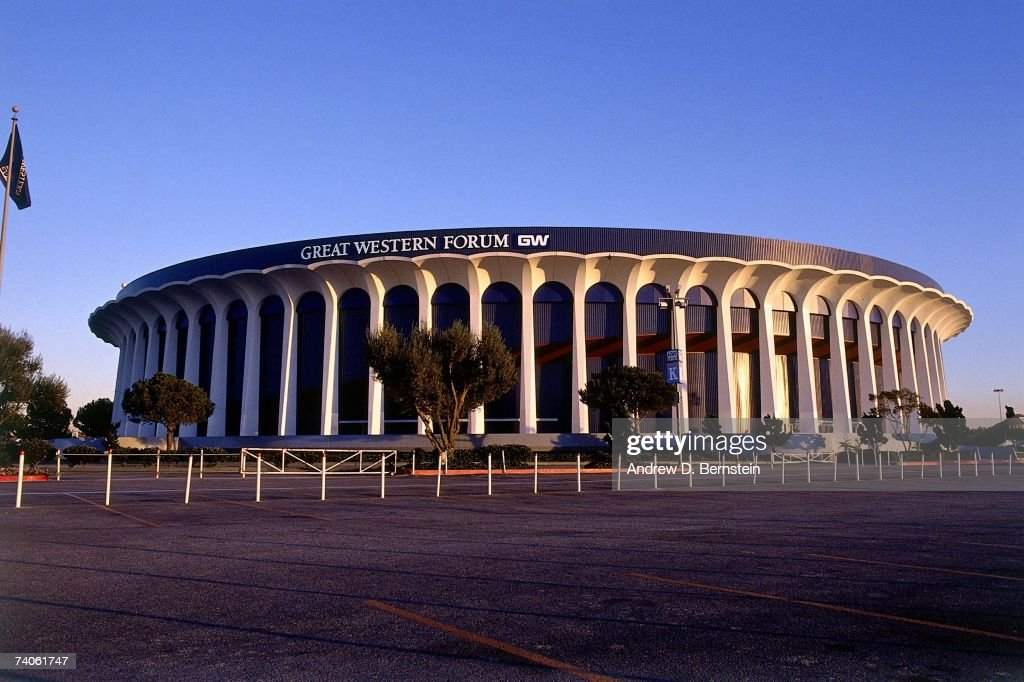 An exterior shot of the Great Western Forum prior to a Lakers game during the 1989 season in Inglewood, California.