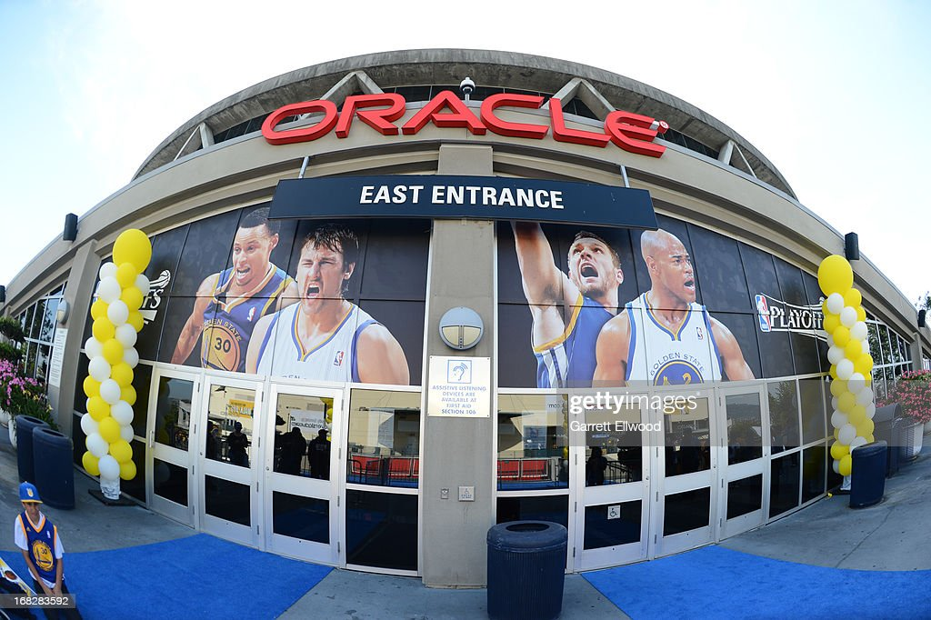 An exterior shot of the Oracle Arena before Game Four of the Western Conference Quarterfinals between the Golden State Warriors and the Denver Nuggets during the 2013 NBA Playoffs on April 28, 2013 at the Oracle Arena in Oakland, California.