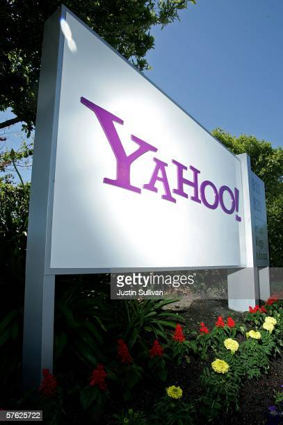 An exterior sign at Yahoo corporate headquarters is seen May 16 2006 in Santa Clara California Yahoo launched a newly updated version of its website...