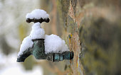 An exterior tap is covered in snow in Newtown Linford on January 6 2010 in Leicestershire United Kingdom The MET Office has put in place severe...