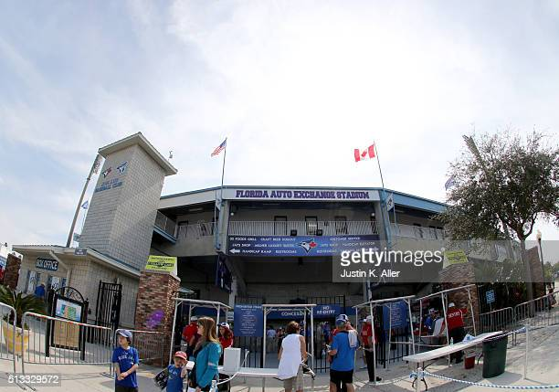 An exterior view from the spring training home of the Toronto Blue Jays before the game against the Philadelphia Phillies at Florida Auto Exchange...