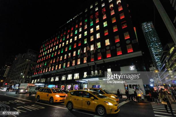 An exterior view of Bloomingdale's following their 2017 Holiday Windows Unveiling on November 21 2017 in New York City