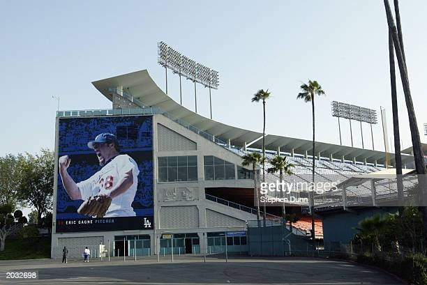 An exterior view of Dodger Stadium on May 18 2003 in Los Angeles California
