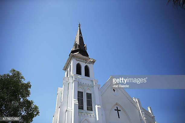 An exterior view of Emanuel AME Church on June 18 2015 in Charleston South Carolina Nine people were killed on June 17 in a mass shooting during a...