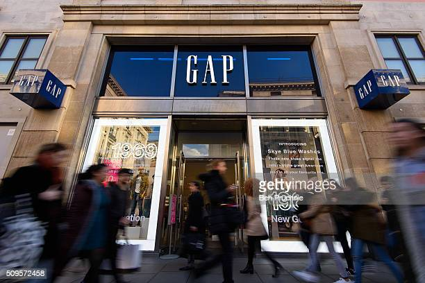 An exterior view of fashion retailer Gap's Oxford Street store on February 11 2016 in London The American clothing retailer with a turnover of 300...