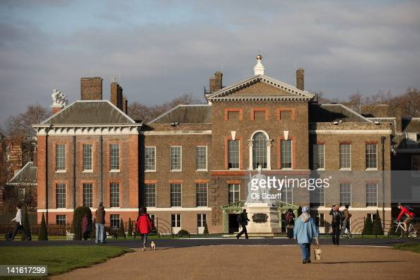 An exterior view of Kensington Palace featuring the refurbished statue of Queen Victoria which was designed by her daughter Princess Louise on March...