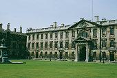 An exterior view of King's College Cambridge circa 1960