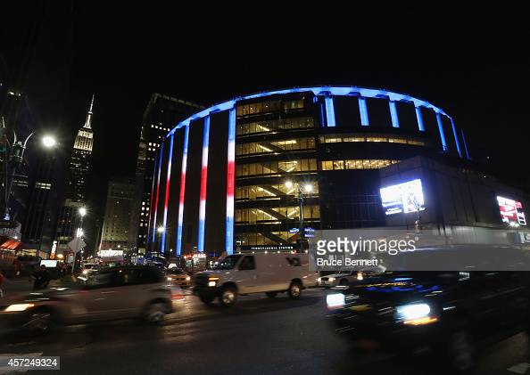 An exterior view of Madison Square Garden following the game between the New York Rangers and the New York Islanders on October 14 2014 in New York...