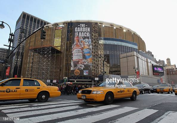 An exterior view of Madison Square Garden prior to the game between the Philadelphia Flyers and the New York Rangers on November 26 2011 in New York...