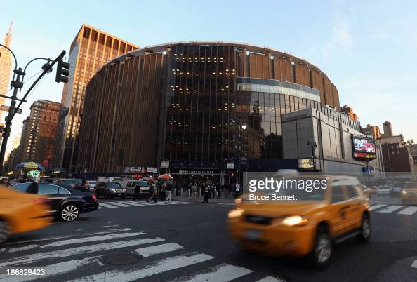 An exterior view of Madison Square Garden prior to the game between the New York Knicks and the Atlanta Hawks on April 17 2013 in New York City NOTE...