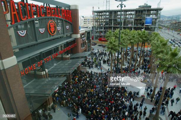 An exterior view of Pacific Bell Park as the fans enter the stadium prior to Game five of the 2002 World Series between the Anaheim Angels and San...