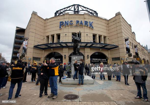 An exterior view of PNC Park before the game between the Pittsburgh Pirates and the Atlanta Braves on Opening Day at PNC Park on April 7 2017 in...