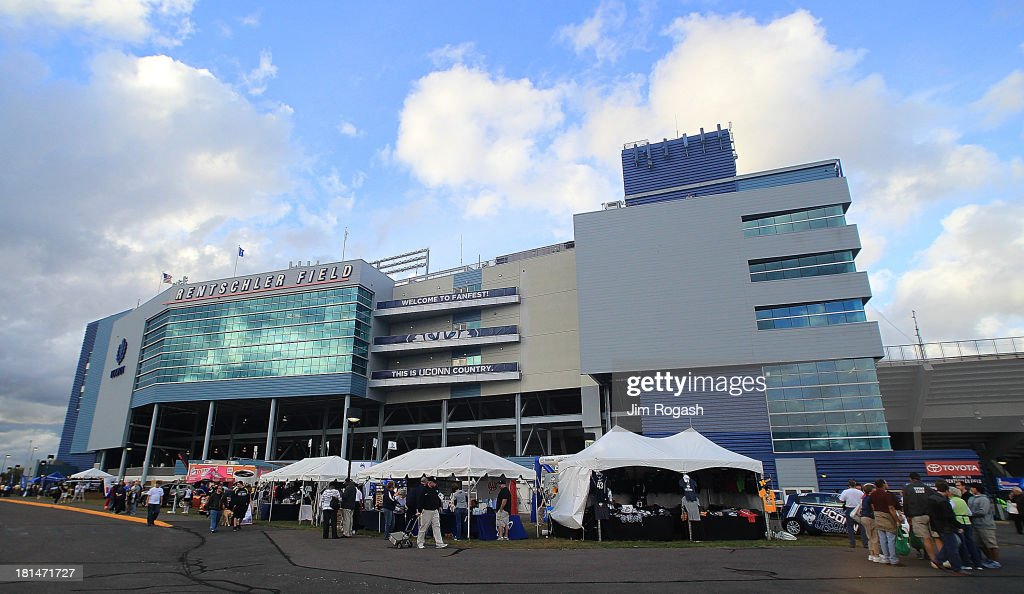 An exterior view of Rentschler Field before a game between the Michigan Wolverines and the Connecticut Huskies on September 21, 2013 in East Hartford, Connecticut.