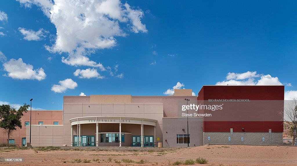An exterior view of Rio Rancho High School on September 02, 2013 in Albuquerque, New Mexico. Rio Rancho High appeared in the 'Breaking Bad' pilot and periodically through Season 3.