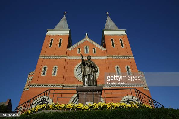 An exterior view of Saint Vincent Basilica during a Celebration of Arnold Palmer at Saint Vincent College on October 4 2016 in Latrobe Pennsylvania...