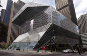 An exterior view of Seattle's new Central LIbrary on May 19 2004 in Seattle Washington The glass and steel structure was designed by the Office for...