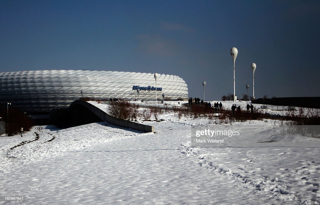 An exterior view of the Allianz Arena prior to the Second Bundesliga League match between 1860 Muenchen and FC Ingostadt at Allianz Arena on March 3, 2013 in Munich, Germany.