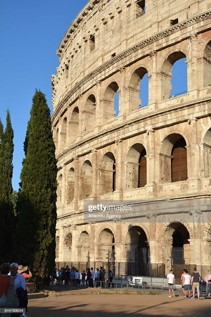 An exterior view of the ancient Colosseum arena after the end of the restoration period of the facade, in Rome, Italy, on July 1, 2016. The landmark Roman era Colosseum arena underwent a major clean-up 3 years ago.