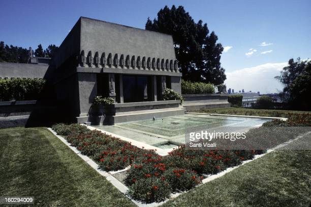 An exterior view of the backyard of the Frank Lloyd Wright designed Hollyhock House in 1991 in Los Angeles California