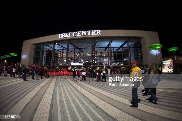 An exterior view of the BBT Center prior to the start of the game between the Carolina Hurricanes and the Florida Panthers on January 19 2013 in...