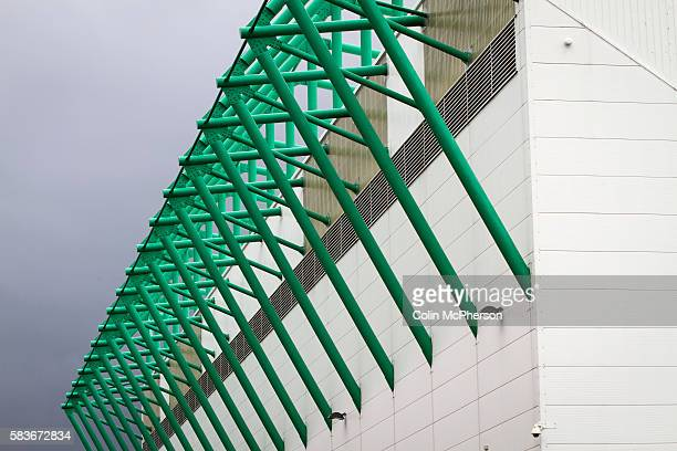 An exterior view of the East Stand at Easter Road stadium before the Scottish Championship match between Hibernian and visitors Alloa Athletic The...