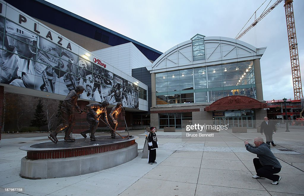 An exterior view of the First Niagara Center prior to the game between the Buffalo Sabres and the Los Angeles Kings on November 12, 2013 in Buffalo, New York.