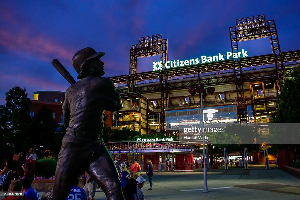 An exterior view of the front of Citizens Bank Park with a statue of Mike Schmidt after a game between the Philadelphia Phillies and the Kansas City Royals at Citizens Bank Park on July 2, 2016 in Philadelphia, Pennsylvania. The Royals won 6-2.