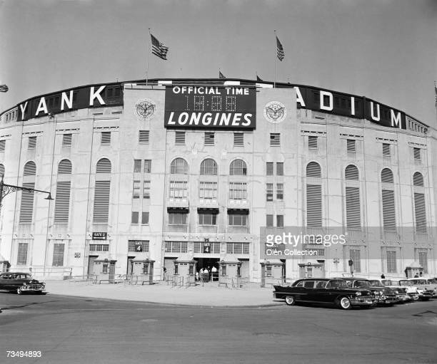An exterior view of the home plate entrance to Yankee Stadium prior to a game in 1957 in New York New York