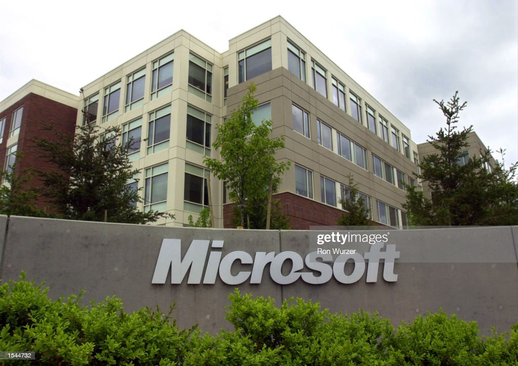 An exterior view of the Microsoft headquarters during the Microsoft CEO Summit May 22 2002 in Redmond WA The CEO summit is a meeting of over 100 CEOs...