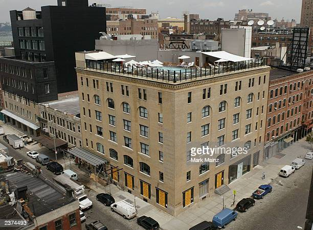 An exterior view of the new celebrity hotspot 'SoHo House' is shown August 6 2003 in the meatpacking district of Manhattan New York City