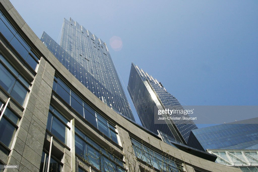 An exterior view of the new Time Warner Building is seen in Columbus Circle April 29, 2004 in the Manhattan borough of New York City. The building houses many businesses including the Time Warner World Headquarters, CNN offices, Five Star Mandarin Oriental Hotel, One Central Park Luxury Residences, restaurants and mall type shopping stores.