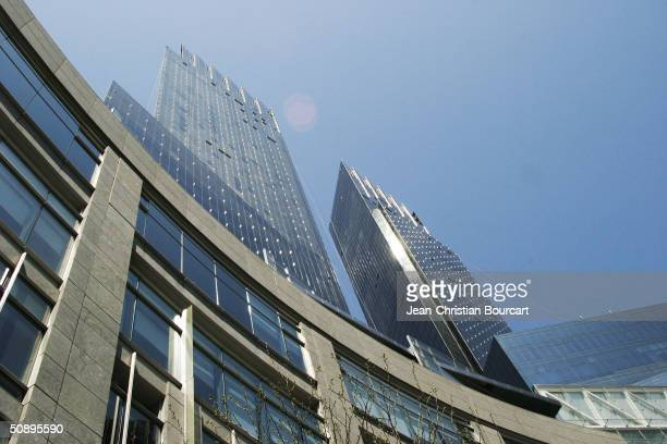 An exterior view of the new Time Warner Building is seen in Columbus Circle April 29 2004 in the Manhattan borough of New York City The building...