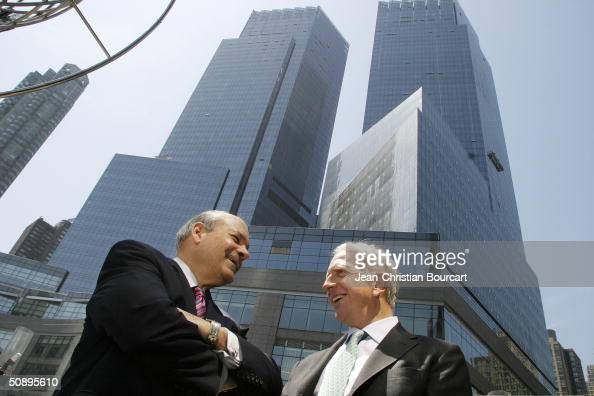 An exterior view of the new Time Warner Building is seen in Columbus Circle behind architect Howard Elkus and developer Ken Himmel April 29 2004 in...