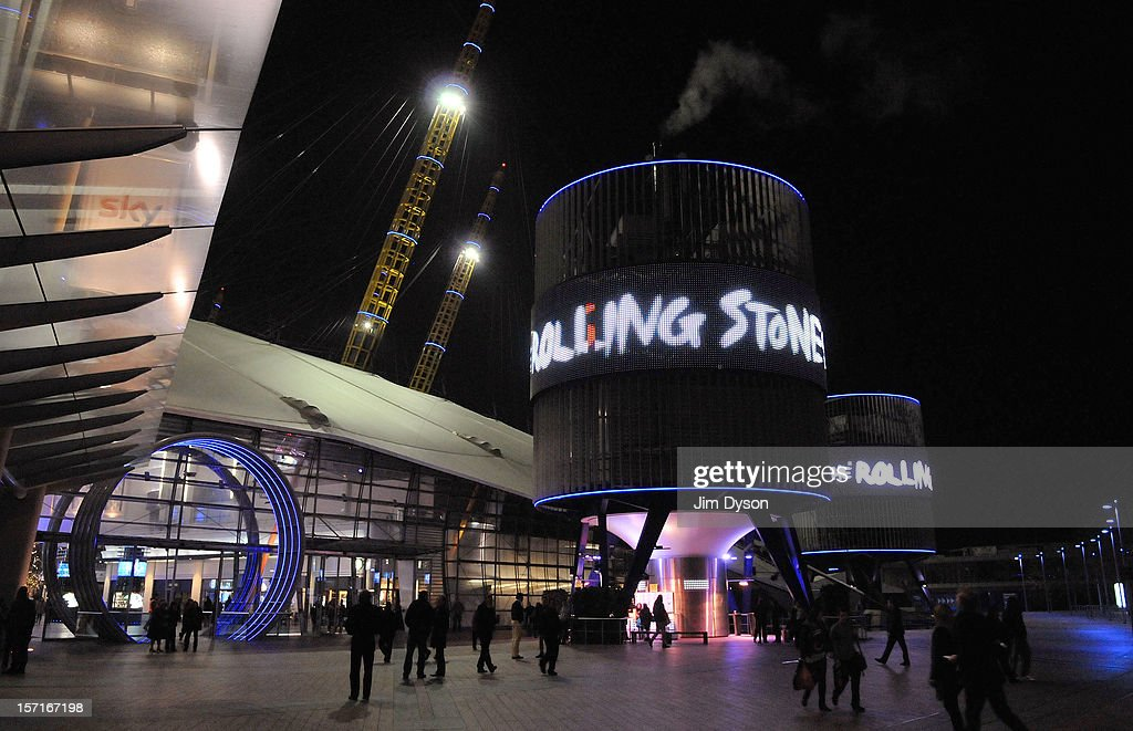 An exterior view of the O2 Arena as the Rolling Stones perform on November 29, 2012 in London, England.
