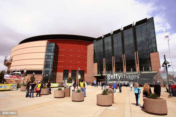 An exterior view of the Pepsi Center prior to the game between the Los Angeles Lakers and the Denver Nuggets in Game Three of the Western Conference...