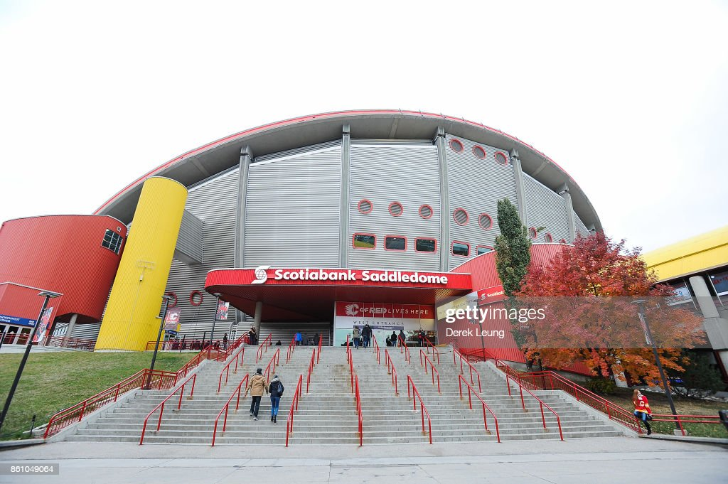 An exterior view of the Scotiabank Saddledome prior to an NHL game between the Calgary Flames and the Ottawa Senators on October 13, 2017 in Calgary, Alberta, Canada.