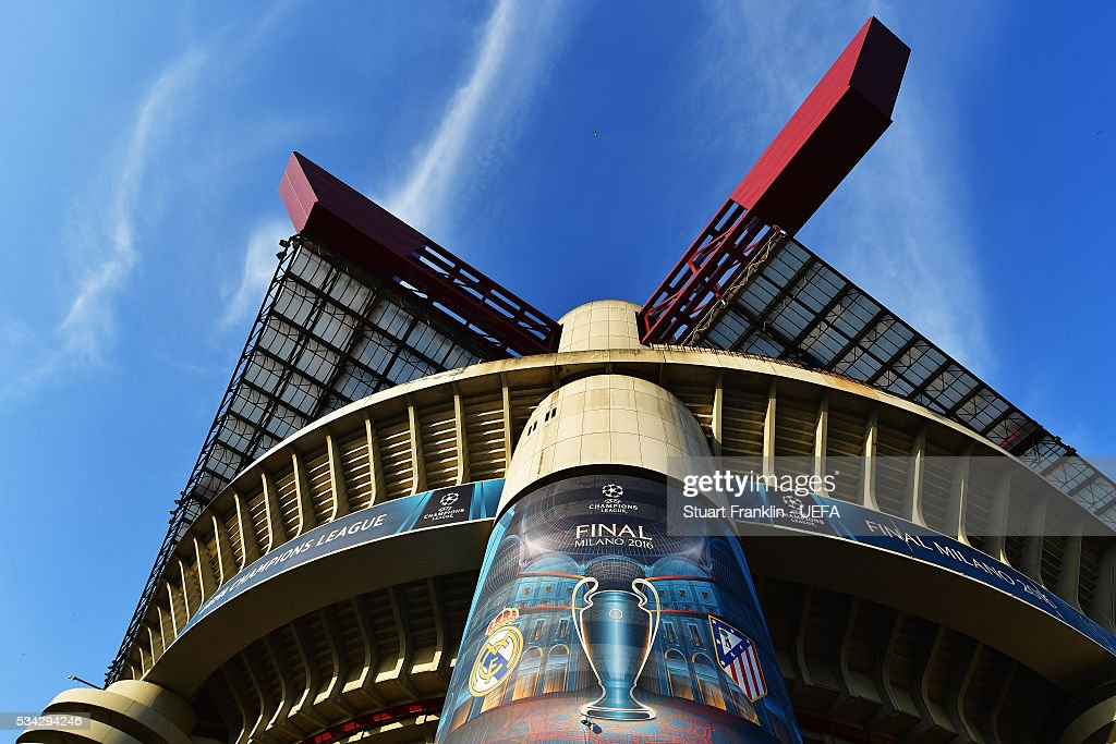 An exterior view of the stadium at Stadio Giuseppe Meazza on May 27, 2016 in Milan, Italy.