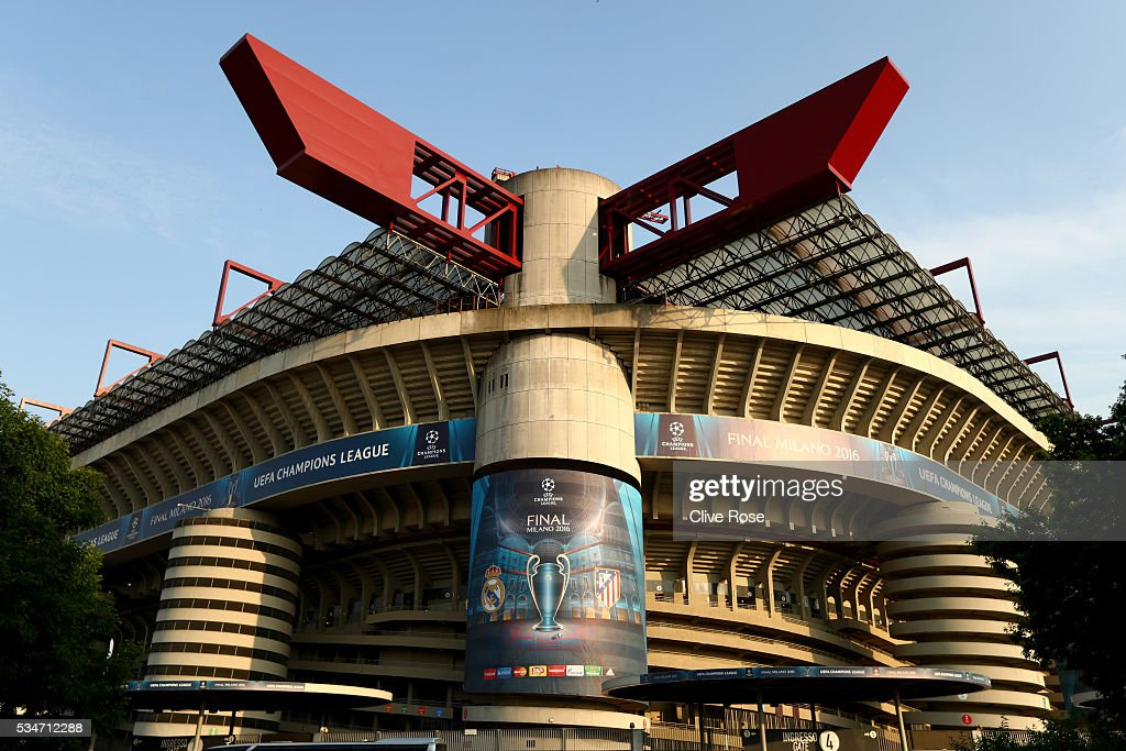 An exterior view of the stadium Stadio Giuseppe Meazza on the eve of the UEFA Champions League Final between Real Madrid and Atletico de Madrid at Stadio Giuseppe Meazza on May 27, 2016 in Milan, Italy.