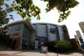 An exterior view of the Time Warner Cable Arena during preparations for the Democratic National Convention on September 3 2012 in Charlotte North...