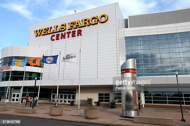 An exterior view of the Wells Fargo Center before the Pittsburgh Penguins play the Philadelphia Flyers on October 29 2016 in Philadelphia Pennsylvania