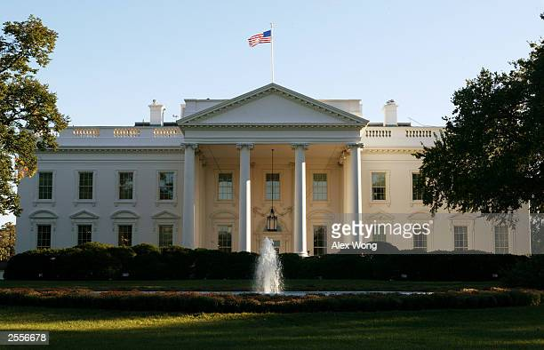 An exterior view of the White House is seen October 2 2003 in Washington DC According to a Washington Post/ABC News poll nearly 70 percent of...