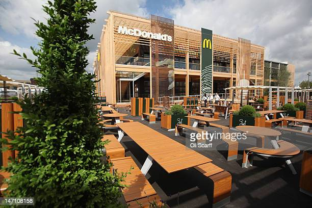 An exterior view of the world's largest McDonald's restaurant and their flagship outlet in the Olympic Park on June 25 2012 in London England The...
