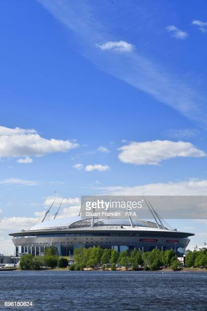 An exterior view of the Zenit Arena on June 14 2017 in StPetersburg Russia