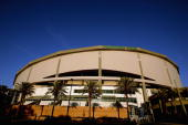An exterior view of Tropicana Field is seen after the Tampa Bay Devil Rays home opener against the Toronto Blue Jays at Tropicana Field on April 4...