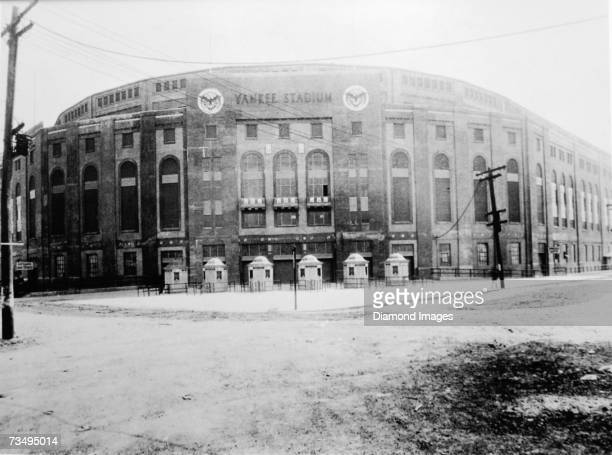 An exterior view of Yankee Stadium the new ballpark for the New York Yankees of the American League after construction in 1923 New York New York
