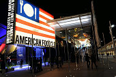 An external view at night of the pavilion of the United States Of America during the Expo 2015 at Fiera Milano Rho on May 22 2015 in Milan Italy