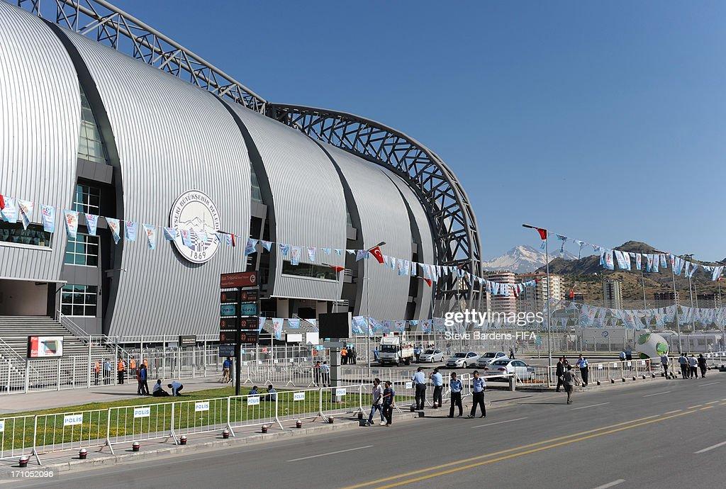 An External view of the Kadir Has Stadium before the FIFA U-20 World Cup Group B match between Cuba and Korea Republic at Kadir Has Stadium on June 21, 2013 in Kayseri, Turkey.