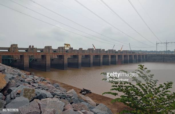 An external view of the Santo Antonio dam power station in Port Velho on September 22 2017 The mega dam located on the Madeira river in the Aamazon...