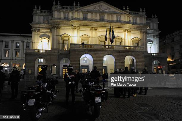 An external view of the Teatro Alla Scala before the Opening season 2013/14 on December 7 2013 in Milan Italy