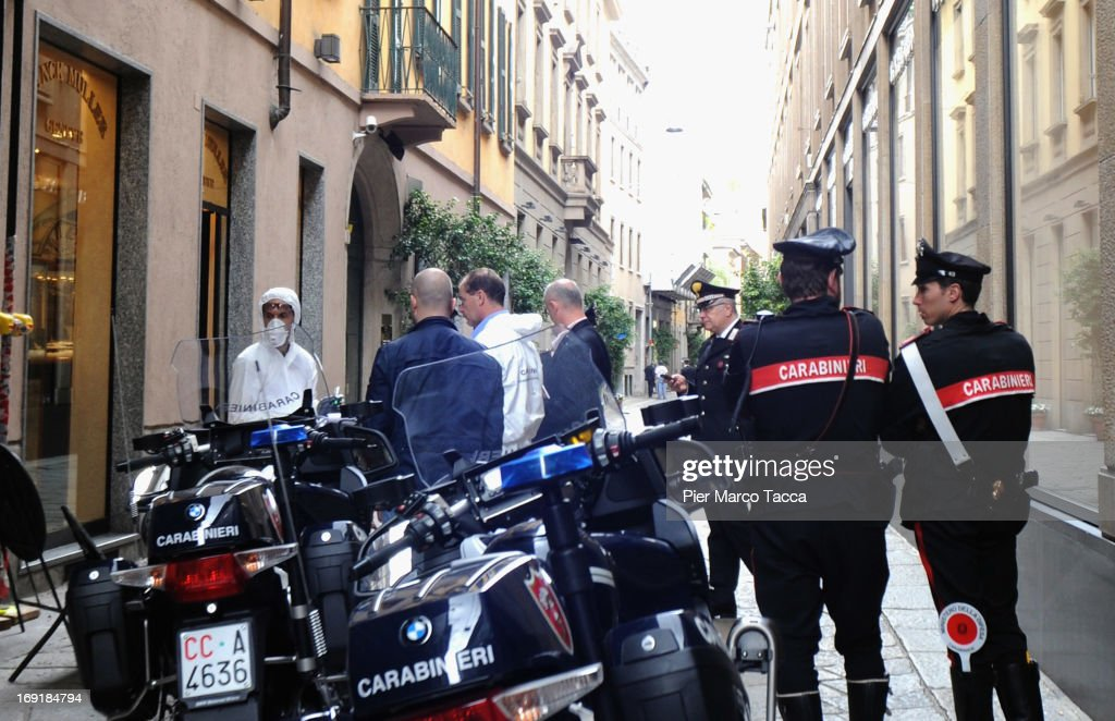 An external view of the watchmaker Franck Muller store in Via della Spiga street with forensic police after the robbery on May 21, 2013 in Milan, Italy. The thieves launched molotov cocktails in an attempt to stop pursuers with two people injured during the raid. The value of the loot has not been revealed.